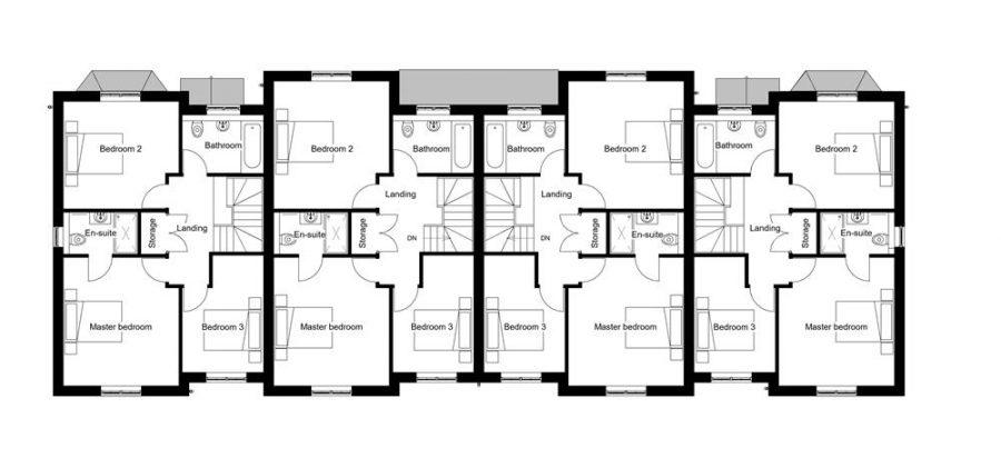 Plots 14 - 17 : First Floor Plans : Mount View Development Malpas