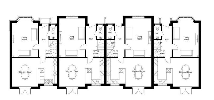 Plots 14 - 17 : Ground Floor Plans : Mount View Development Malpas